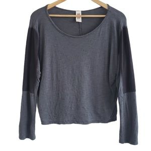 Freeloader patch elbow long sleeve top grey medium